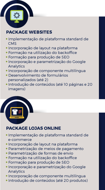 Packages Website e Loja Online