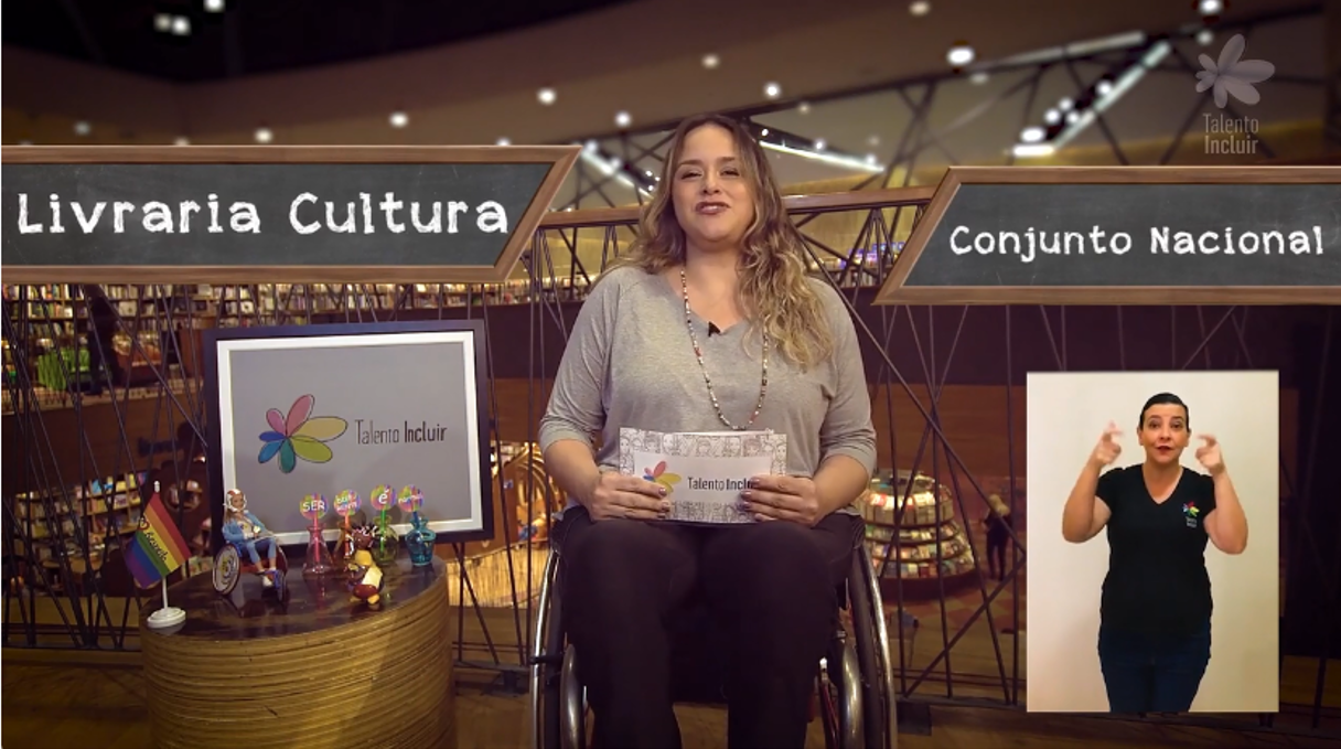 imagem da Tabata Contri falando com os escritos: livraria cultura e conjunto nacional