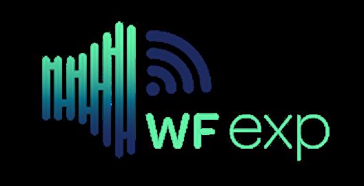 logo da wfexp, em verde e azul e uma figura que se parece com um alto falante