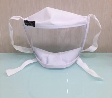 máscara transparente de frente