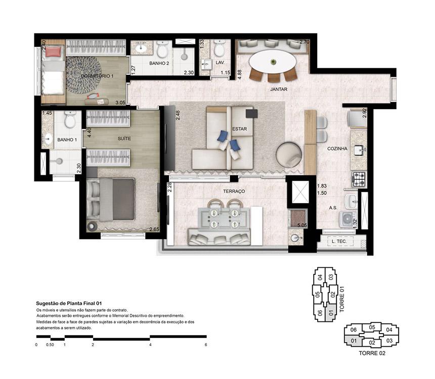 Planta 87 - m² Opção 3 dorms (01 suíte), lavabo e cozinha fechada