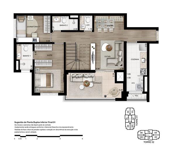 Planta 170 m² - Cobertura Duplex Inferior Opção 3 dorms. (01 suíte)