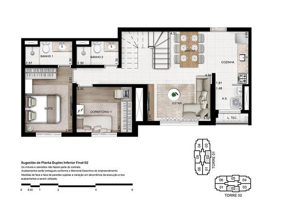 Planta 133 m² - Duplex Inferior Opção 3 dorms. (01 suíte)