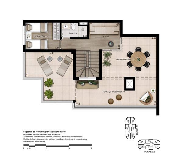 Planta 170 m² - Cobertura Duplex Superior Opção 3 dorms (01 suíte)