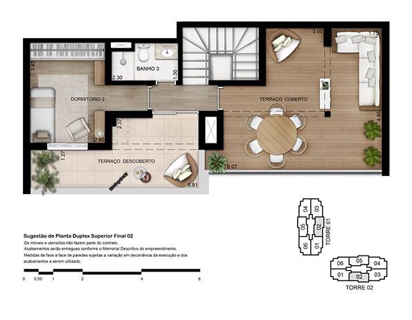 Planta 133 m² - Duplex Superior Opção 3 dorms. (01 suíte)