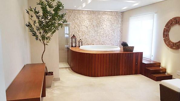Spa com sauna e sala de descanso