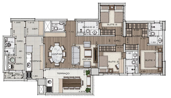 Planta com 125 m², 3 Suítes e Terraço