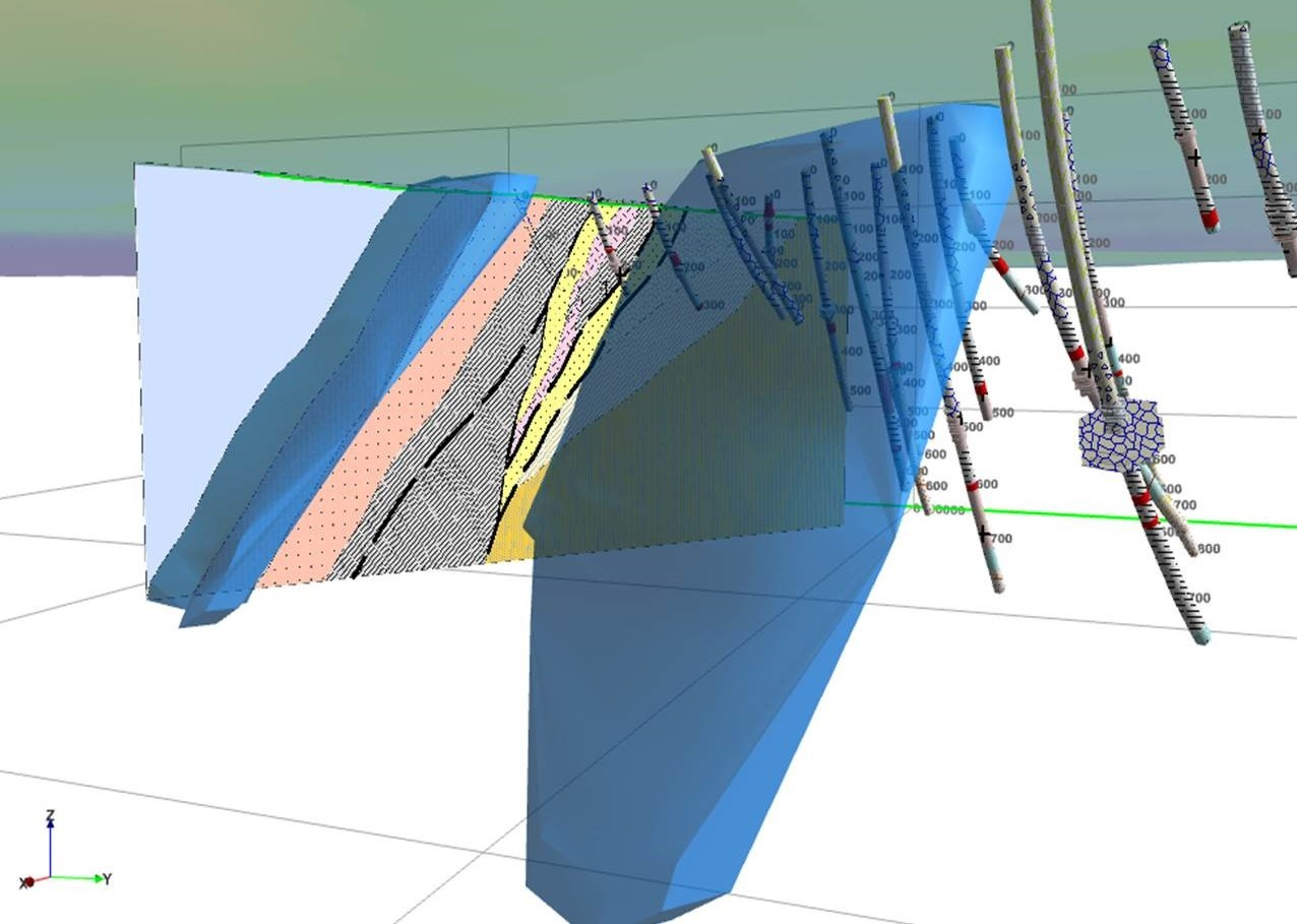 3D view of drillholes and a section layer used to generate wireframes in Discover 3D