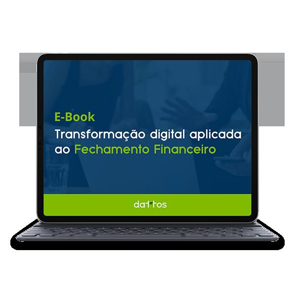Tablet com o e-book de Transformação digital aplicada ao fechamento contábil