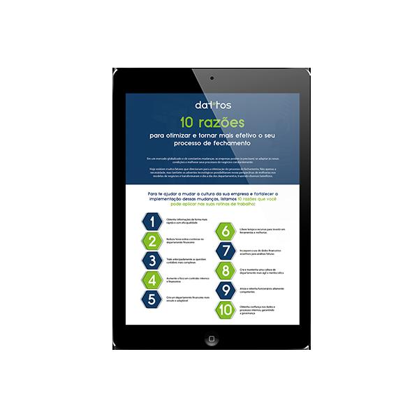 Tablet com e-book sobre as 10 razões para otimizar seu fechamento financeiro