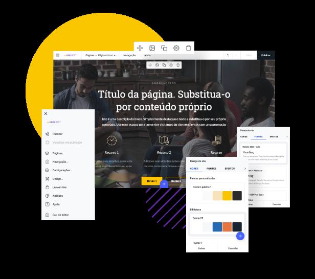 Tela da ferramenta Criador de Sites com elementos disponíveis para mostrar a simplicidade de criar seu site.