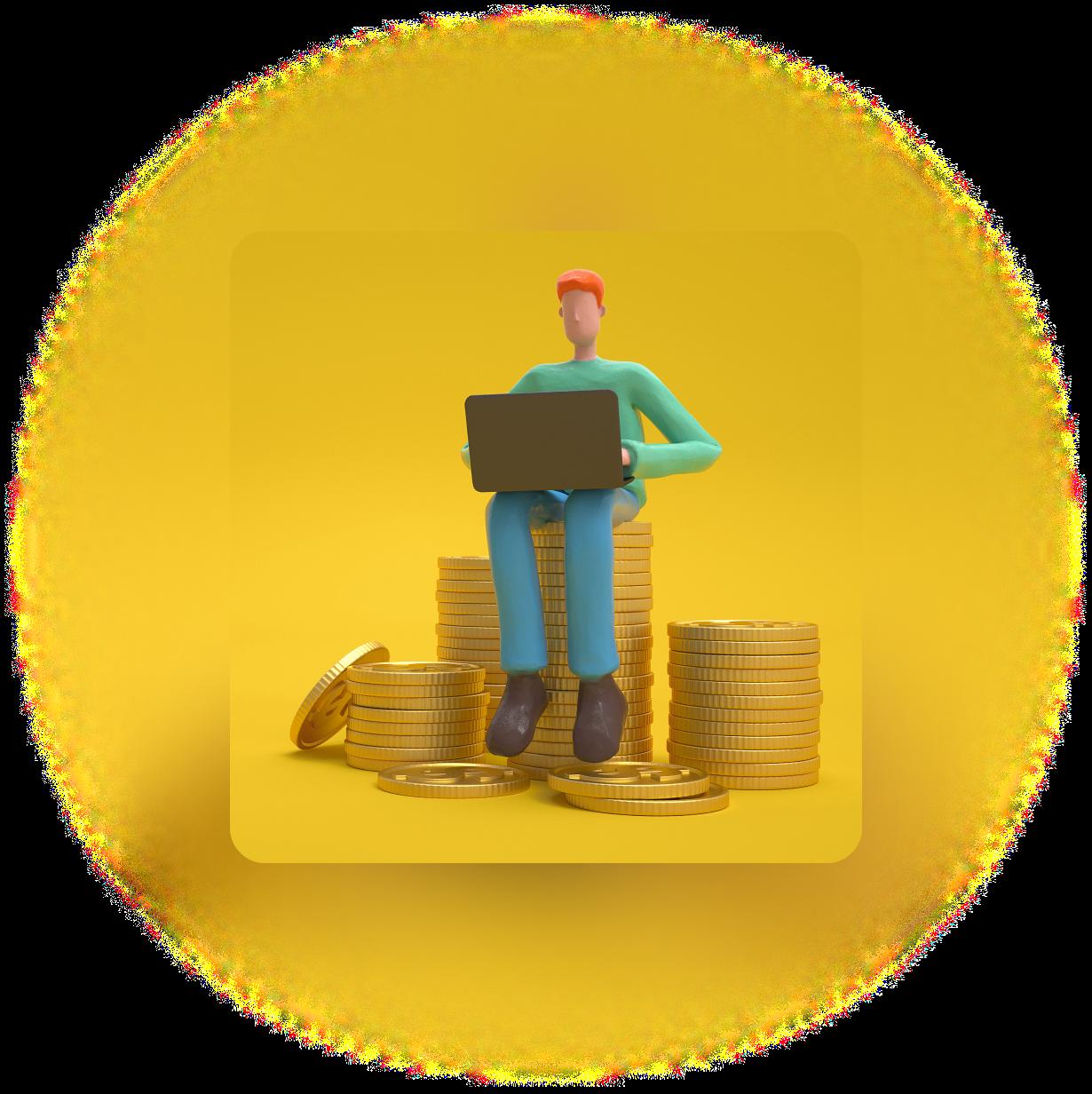 Boneco 3D de cabelos ruivos, camiseta verde e calça azul sentado com seu computador portátil sobre uma pilhas de moedas de ouro