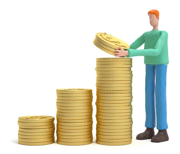Boneco 3D de cabelos ruivos, camiseta verde e calça azul empilhando pilhas de moedas de ouro