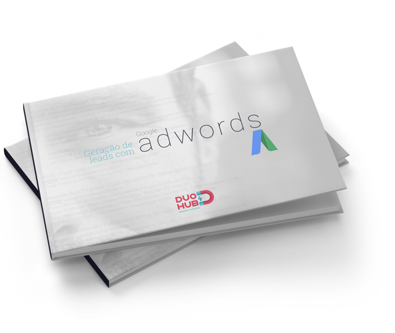 mock-up e-book geração de leads com google adwords - DuoHub