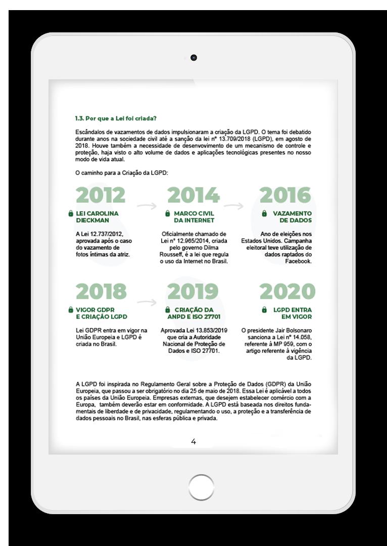 imagem com tablet e uma linha do tempo com acontecimentos da LGPD no mundo