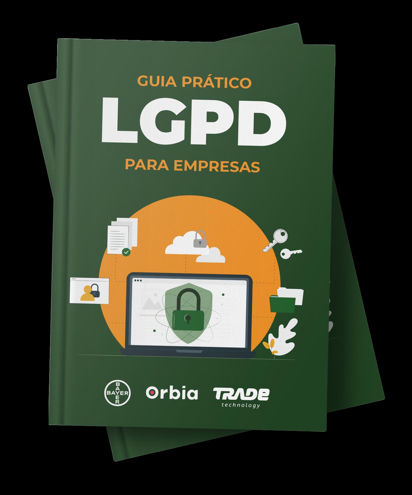 capa do ebook Guia Prático LGPD para Empresas, conteúdo criado pela Trade Technology em parceria com a Bayer e a Orbia