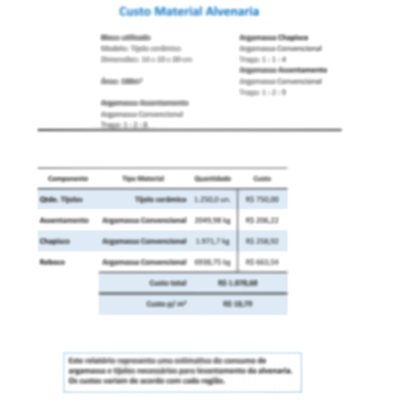 Aba relatório - Calculadora de materiais