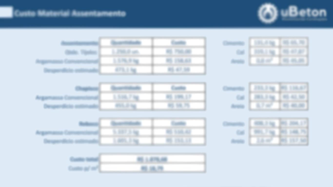 Aba resultados - Calculadora de materiais