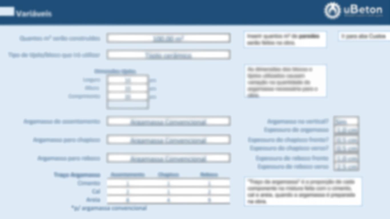 Aba variáveis - Calculadora de materiais