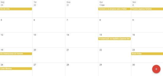 Calendário de datas comemorativas de novembro