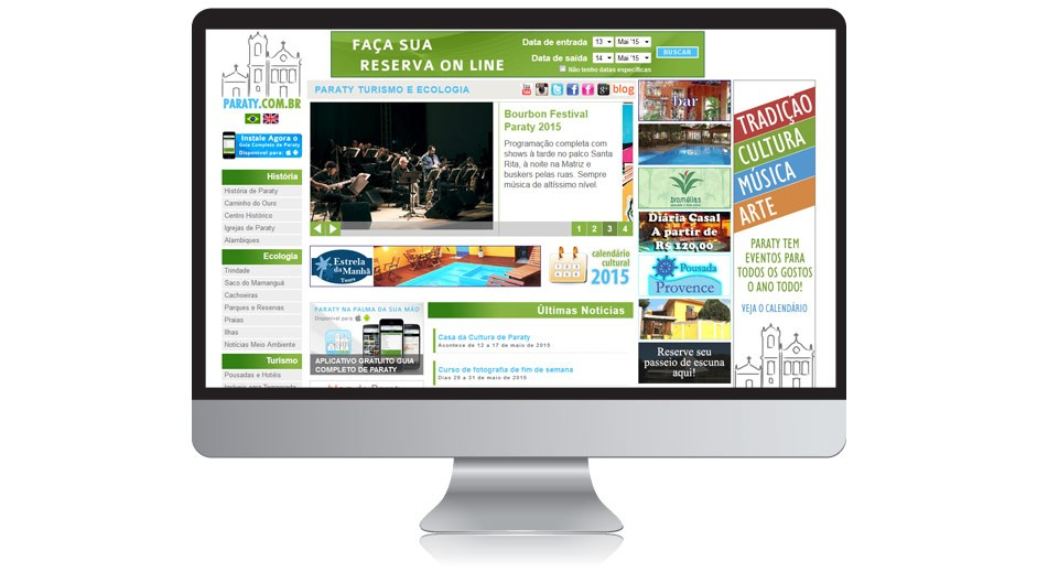 Home Page do site de Paraty
