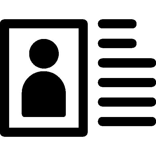 Ícone com um quadrado com silhueta de uma pessoa e linhas ao lado.