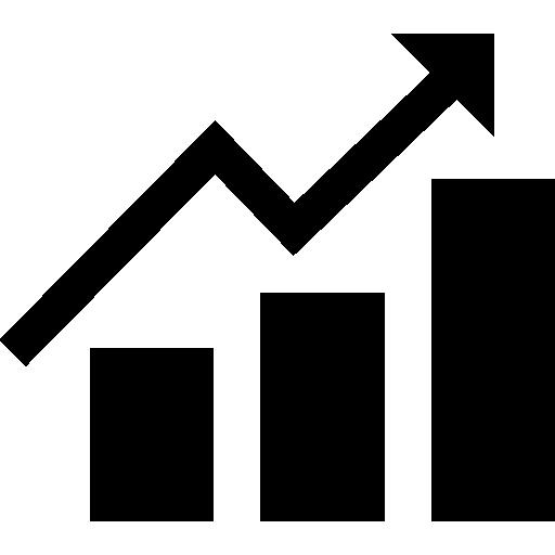Ícone de um gráfico de barras com uma seta ascendente.