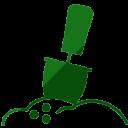 Ícone sementes sendo plantadas na cor verde