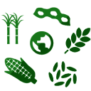 Ícone de plantas e grãos ao redor do mundo, na cor verde