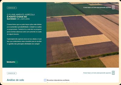 Desenho de um tablet bege com duas telas do material Checklist de Planejamento Agrícola dentro.