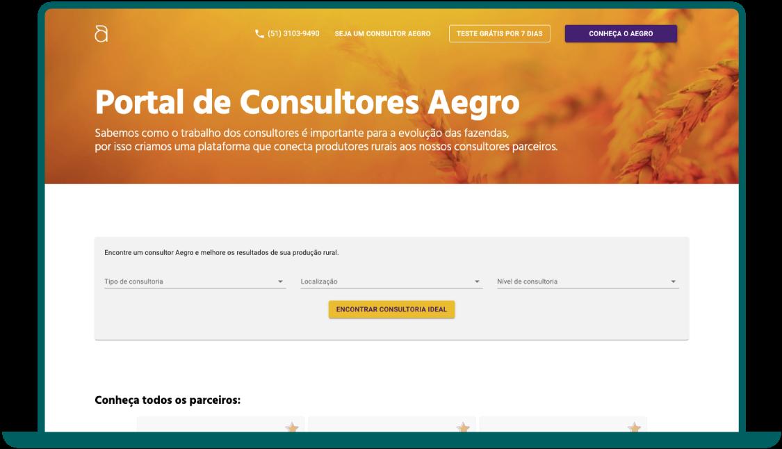 Imagem da tela do Portal de Consultores Aegro