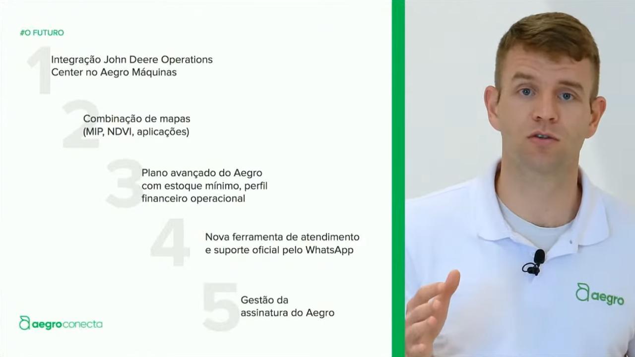 Foto do Aegro Conecta anterior, com Pedro Dusso falando e slide ao seu lado mostrando 5 novidades prometidas de avanço do Aegro