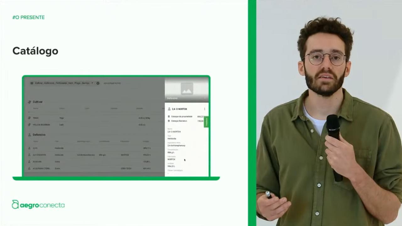 Foto do Aegro Conecta anterior, com Francisco Borja falando e slide ao seu lado mostrando prévia de tela do Aegro