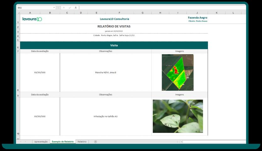 Imagem de um laptop verde escuro mostrando a visualização de parte do modelo de relatório de visitas