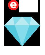 Selo de qualidade ebit Diamante, que representa um alto nível da loja virtual Livrarias Família Cristã, desenvolvida com a plataforma de e-commerce Bis2Bis
