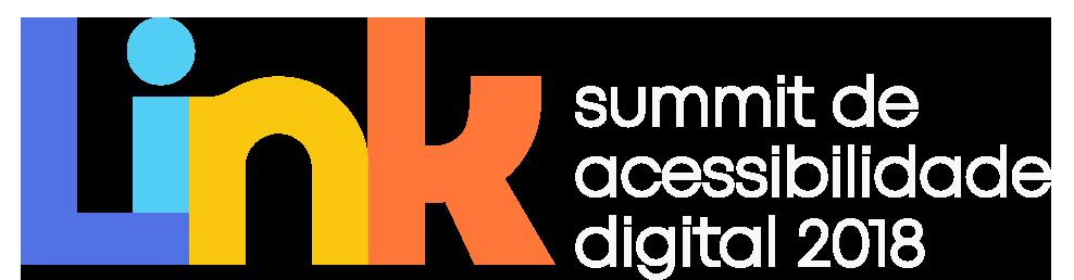 Logo Link - Summit de acessibilidade digital 2018 em letras coloridas e arredondadas