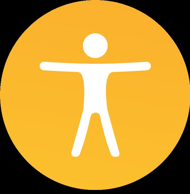 Ícone de pessoa sem gênero em branco, dentro de círculo laranja claro