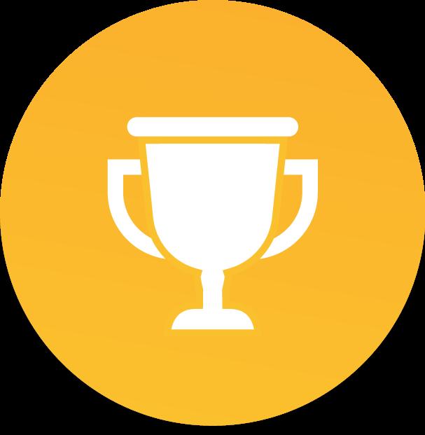Ícone de troféu branco dentro de círculo laranja claro