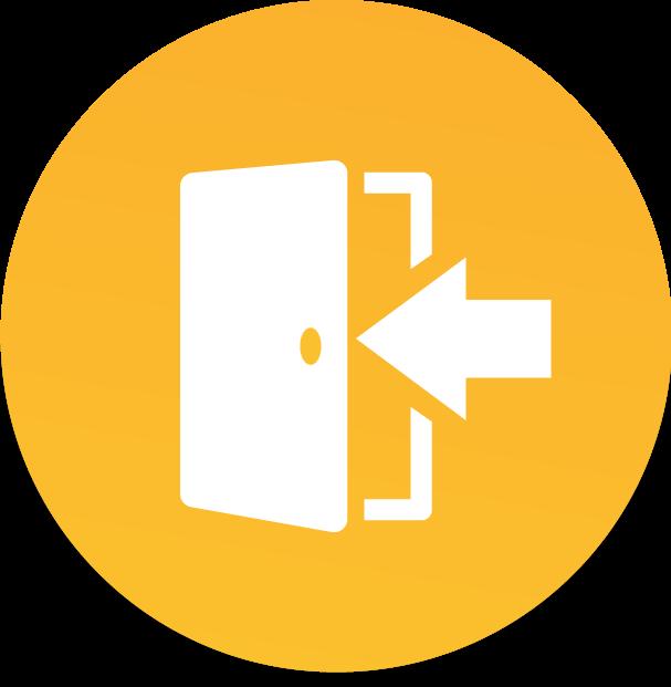 Ícone de porta aberta com seta apontando para seu interior
