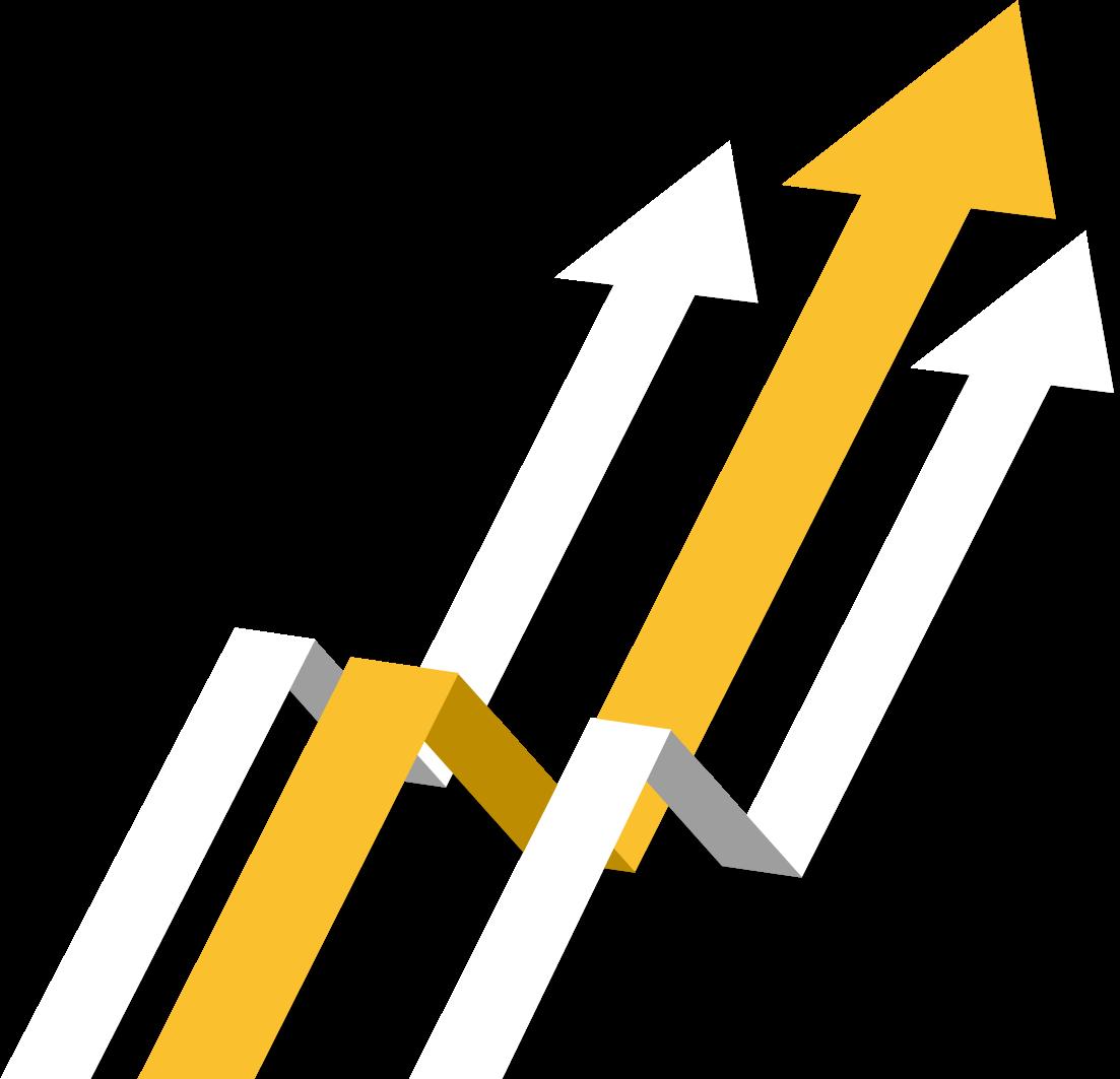 Três setas, duas brancas e uma amarela no centro, denotando uma crescente de dados.