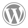 Símbolo do Wordpress na cor cinza