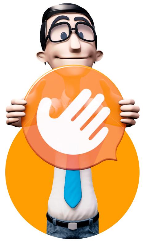 Imagem do Hugo - Símbolo da Hand Talk
