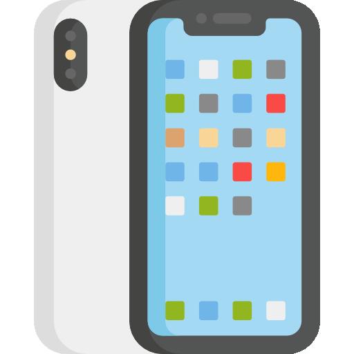 Ilustração de um celular com vários quadradinhos coloridos na tela representando aplicativos