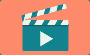 Ilustração de uma claquete de vídeo dentro de um retângulo de cor vermelha.