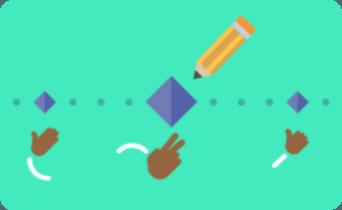 Ilustração de um lápis no centro da tela desenhando losangos. Existem diferentes losangos de tamanhos diferentes e abaixo dele estão mãozinhas em movimento. Essas ilustrações estão dentro de um retângulo verde.
