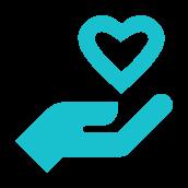 Ícone com ilustração de uma mão segurando um coração