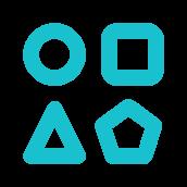 Ícone com ilustração de 4 formas geométricas diferentes posicionadas em um quadrante com 2 linhas e 2 colunas. As formas são (da esquerda para a direita) um círculo e um quadrado e, logo abaixo, um triângulo e uma estrela de 5 pontas