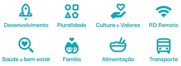 Imagem com ícones de ilustração de 8 benefícios, são eles: desenvolvimento, cultura e valores, pluralidade, RD remoto, saúde e bem-estar, família, alimentação e transporte