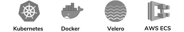 Kubernetes, Docker, Velero, AWS ECS