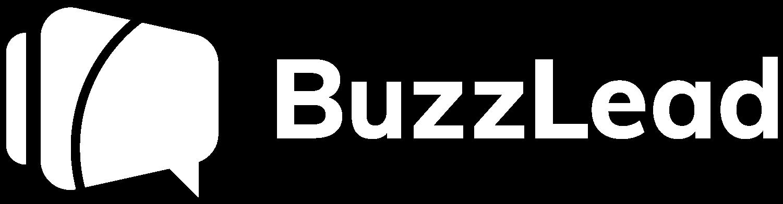 Buzzlead logo horizontal monocromia branco png